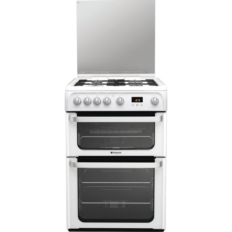 Hotpoint-Double-Cooker-HUG61P-White-A--Enamelled-Sheetmetal-Frontal