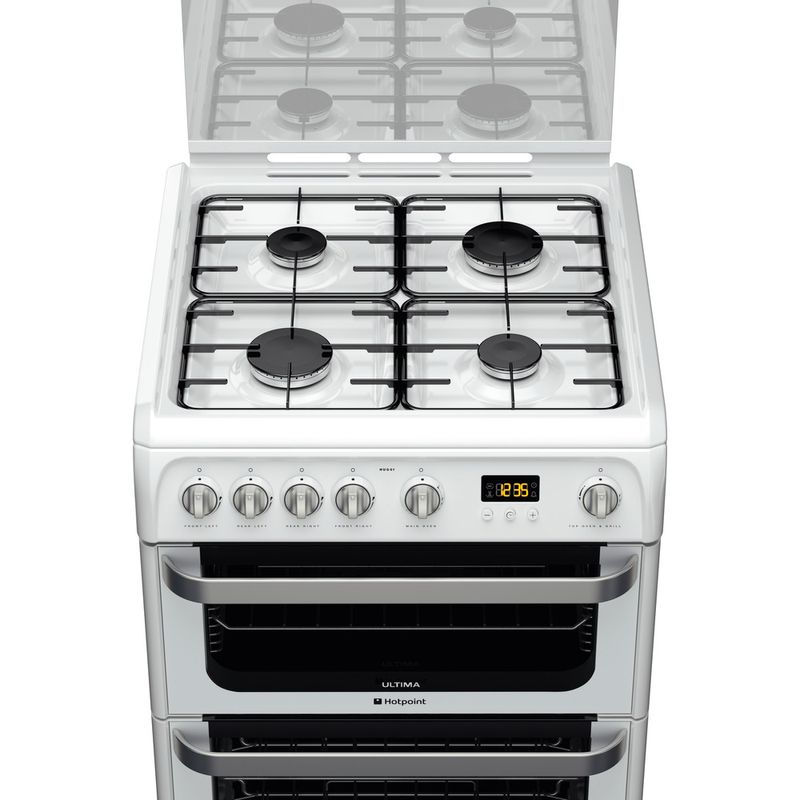 Hotpoint-Double-Cooker-HUG61P-White-A--Enamelled-Sheetmetal-Frontal-top-down