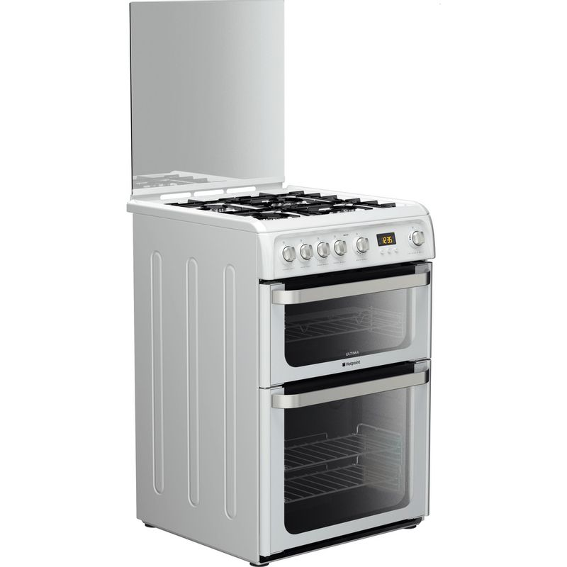 Hotpoint-Double-Cooker-HUG61P-White-A--Enamelled-Sheetmetal-Perspective