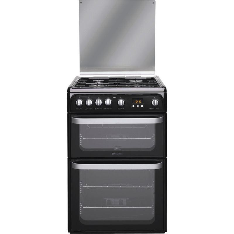 Hotpoint-Double-Cooker-HUG61K-Black-A--Enamelled-Sheetmetal-Frontal