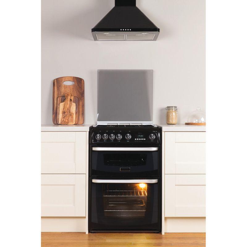 Hotpoint-Double-Cooker-CH60GCIK-Black-A--Enamelled-Sheetmetal-Lifestyle_Frontal