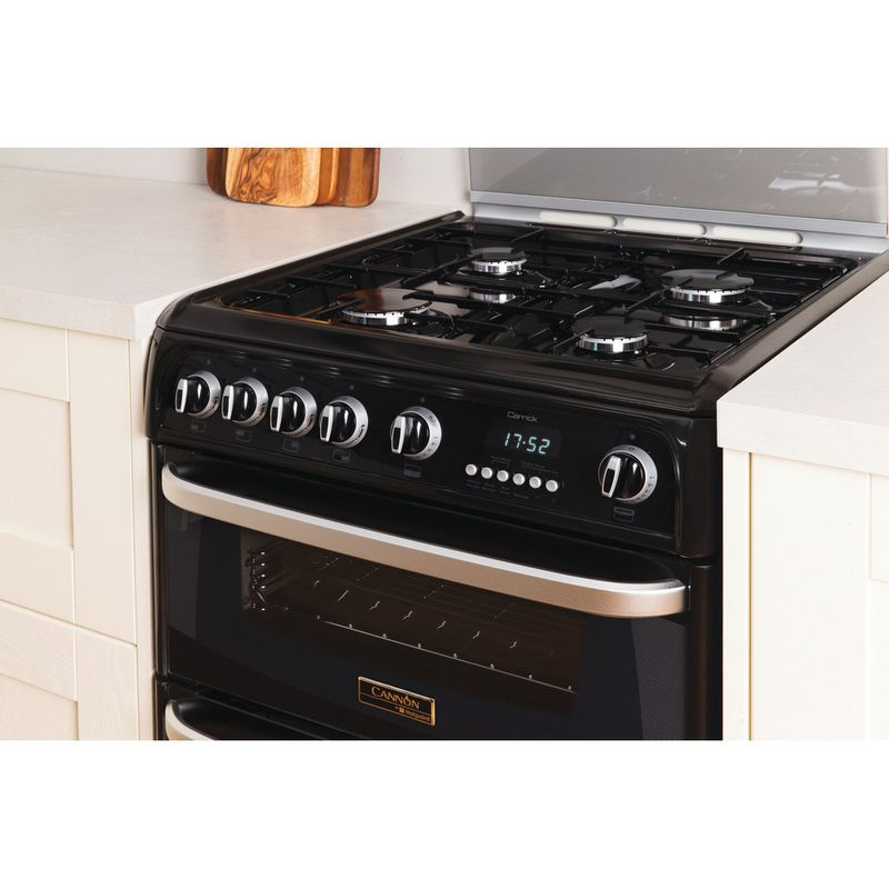 Hotpoint-Double-Cooker-CH60GCIK-Black-A--Enamelled-Sheetmetal-Lifestyle_Perspective