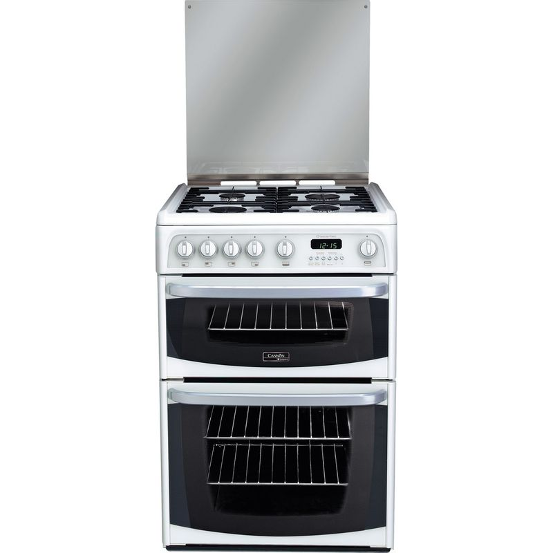Hotpoint-Double-Cooker-CH60GCIW-White-A--Enamelled-Sheetmetal-Frontal
