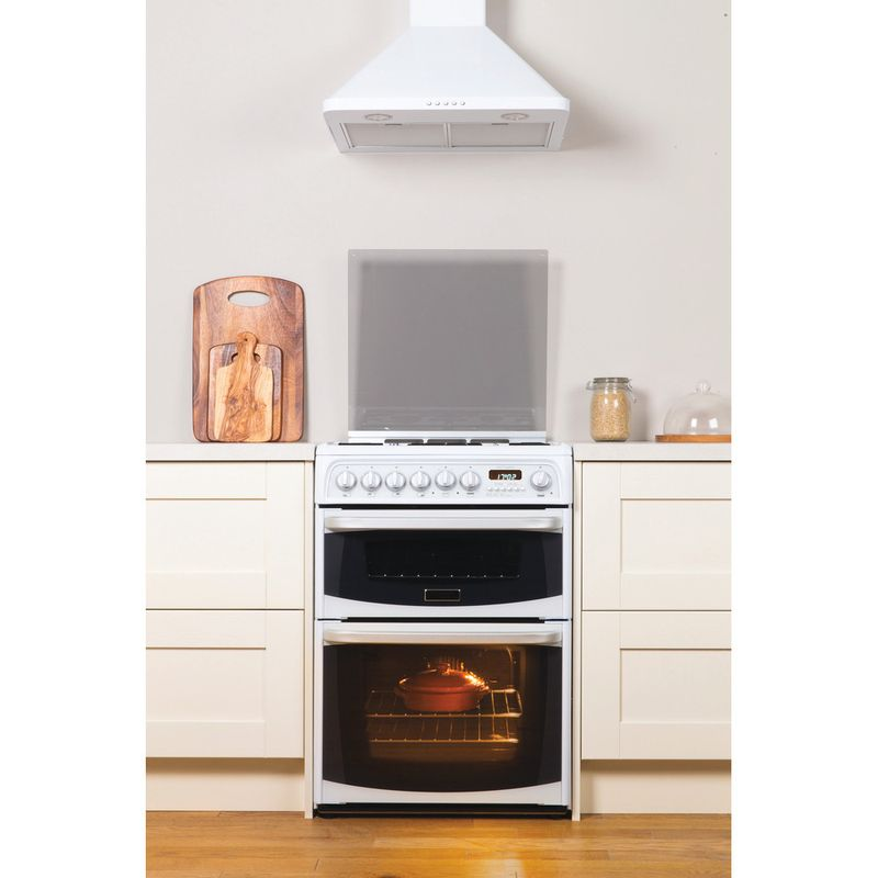 Hotpoint-Double-Cooker-CH60GCIW-White-A--Enamelled-Sheetmetal-Lifestyle-frontal