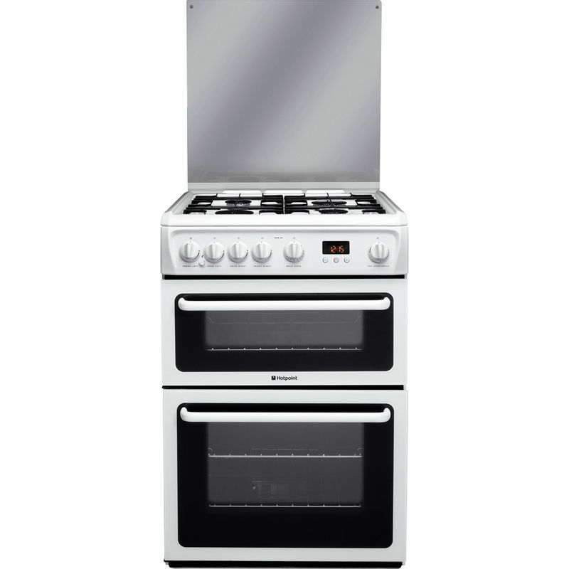Hotpoint-Double-Cooker-HAGL60P-White-A--Enamelled-Sheetmetal-Frontal