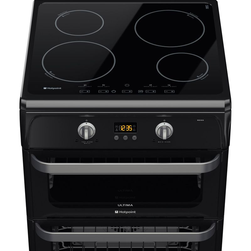 Hotpoint-Double-Cooker-HUI612-K-Black-A-Vitroceramic-Frontal-top-down
