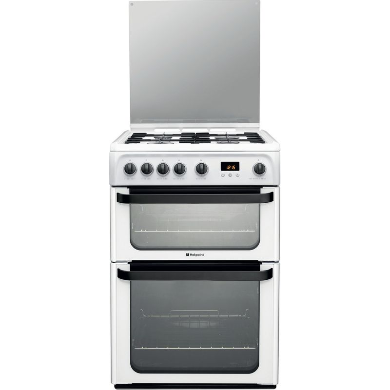 Hotpoint-Double-Cooker-JLG60P-White-A--Enamelled-Sheetmetal-Frontal