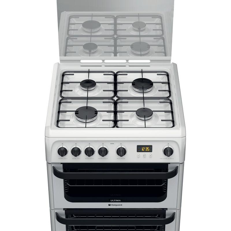 Hotpoint-Double-Cooker-JLG60P-White-A--Enamelled-Sheetmetal-Frontal-top-down