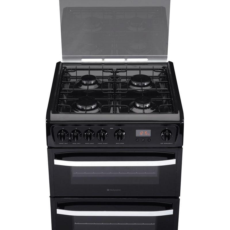 Hotpoint-Double-Cooker-DSG60K-Black-A--Enamelled-Sheetmetal-Frontal-top-down