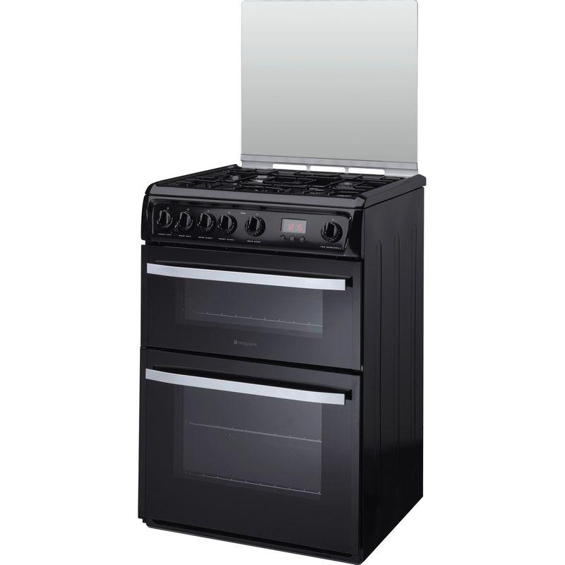 Hotpoint-Double-Cooker-DSG60K-Black-A--Enamelled-Sheetmetal-Perspective