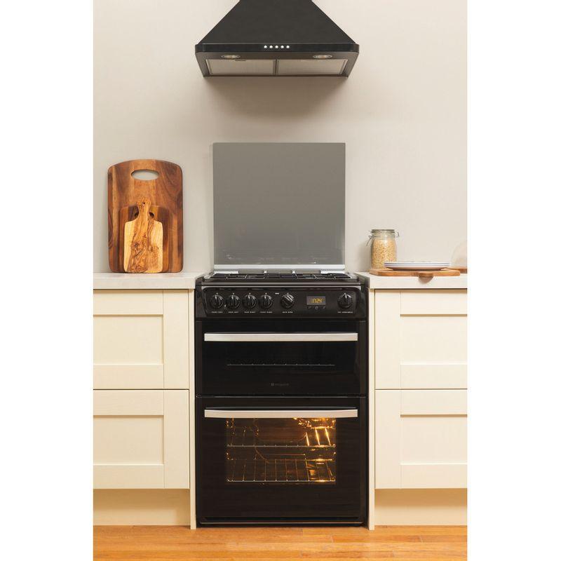 Hotpoint-Double-Cooker-DSG60K-Black-A--Enamelled-Sheetmetal-Lifestyle-frontal