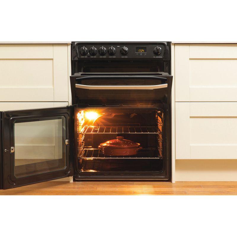 Hotpoint-Double-Cooker-DSG60K-Black-A--Enamelled-Sheetmetal-Lifestyle-frontal-open