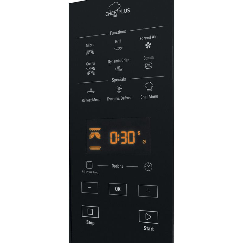 Hotpoint-Microwave-Free-standing-MWH-27343-B-Black-Electronic-25-MW-Combi-800-Control-panel