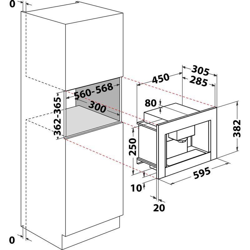Hotpoint-Built-in-coffee-machine-CM-5038-IX-H-Inox-Half-automatic-Technical-drawing