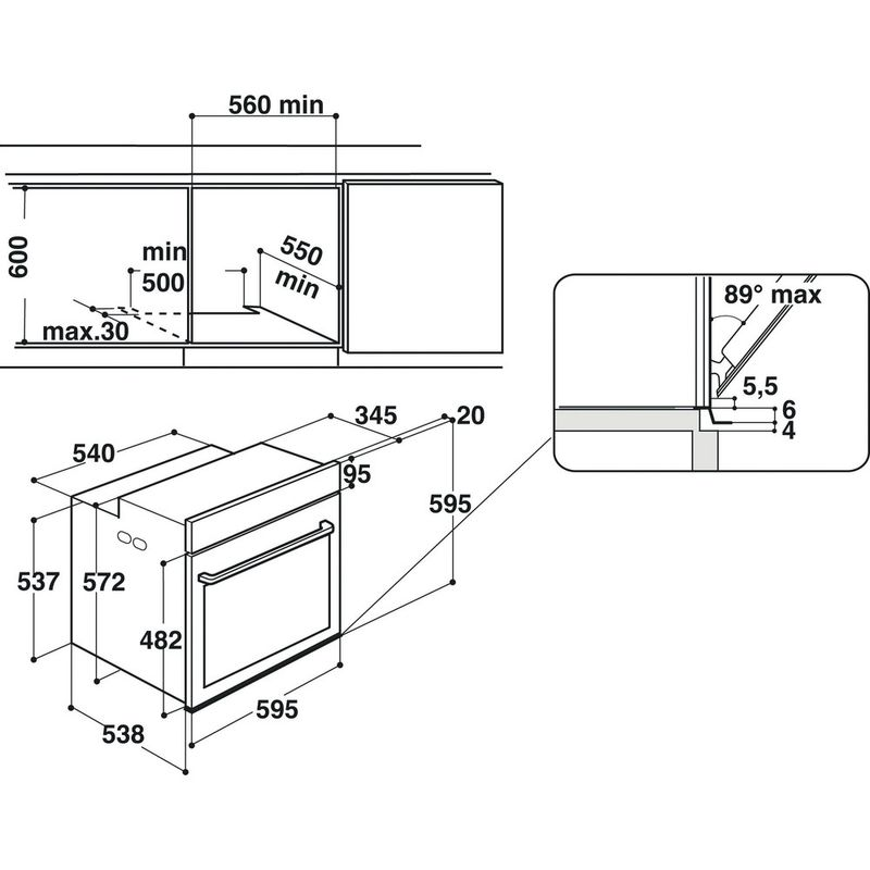 Hotpoint-OVEN-Built-in-SI7-864-SC-IX-Electric-A--Technical-drawing