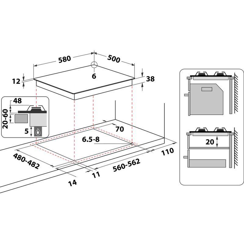 Hotpoint-HOB-PAN-642-IX-H-Inox-GAS-Technical-drawing