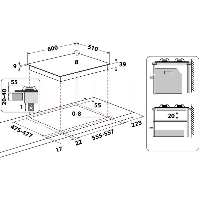 Hotpoint-HOB-PCN-642--H-BK--Black-GAS-Technical-drawing