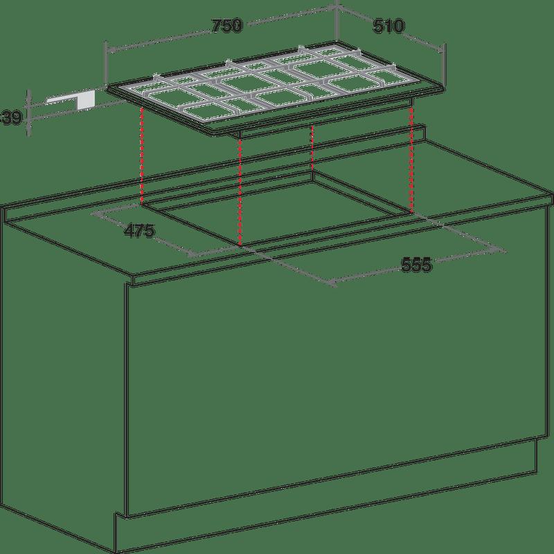 Hotpoint-HOB-PCN-751-T-IX-H-Inox-GAS-Technical-drawing