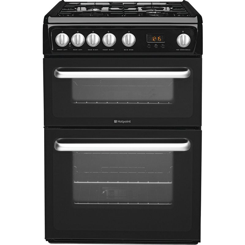 Hotpoint-Double-Cooker-HARG60K-Black-A--Enamelled-Sheetmetal-Frontal