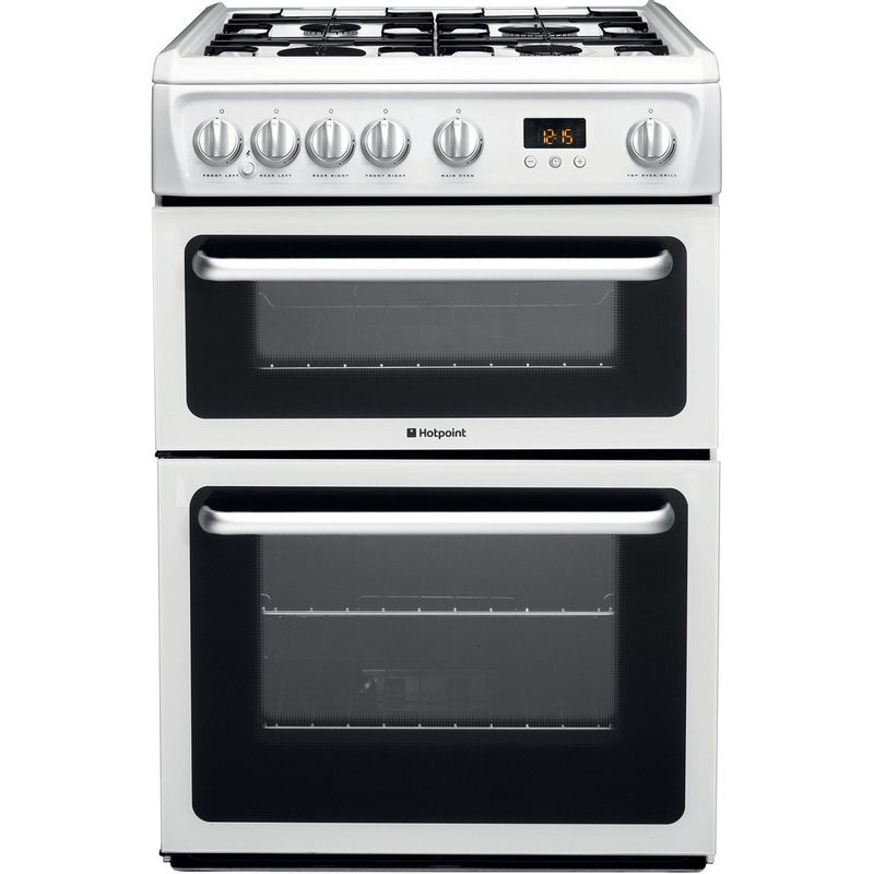 Hotpoint-Double-Cooker-HARG60P-White-A--Enamelled-Sheetmetal-Frontal