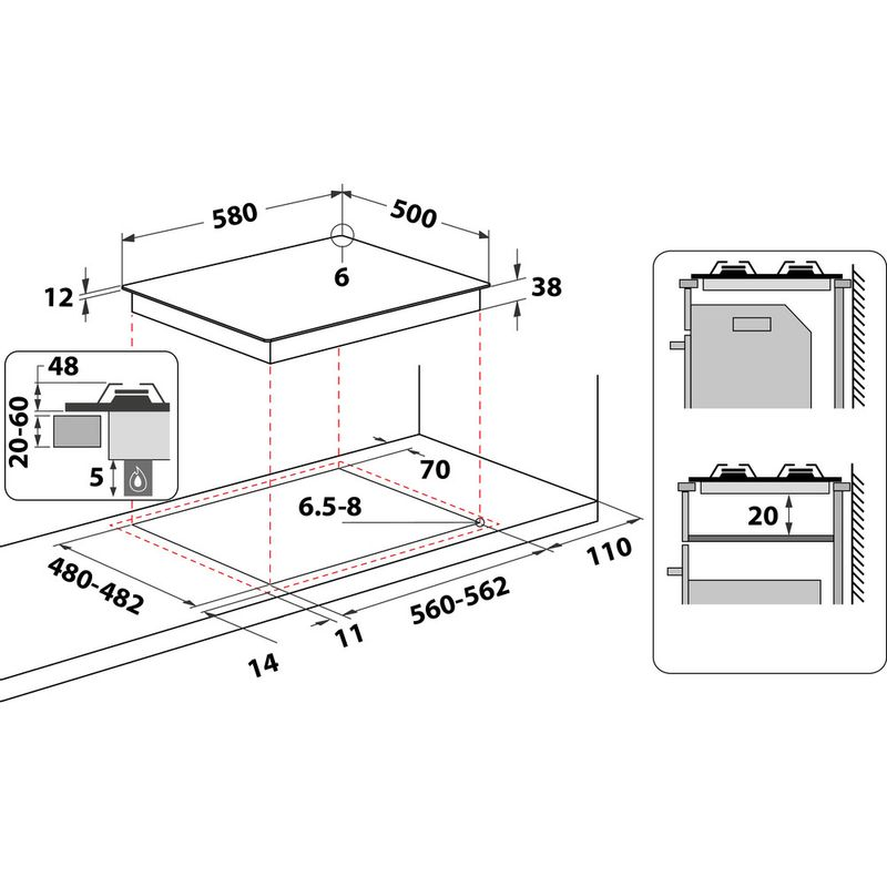 Hotpoint-HOB-PAS-642--H-WH--White-GAS-Technical-drawing