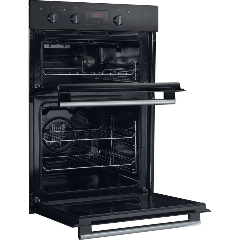 Hotpoint-Double-oven-DD2-540-BL-Black-A-Perspective-open