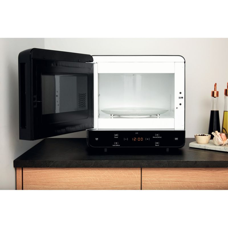 Hotpoint-Microwave-Free-standing-MWH-1331-B-Black-Electronic-13-MW-only-700-Lifestyle-frontal-open