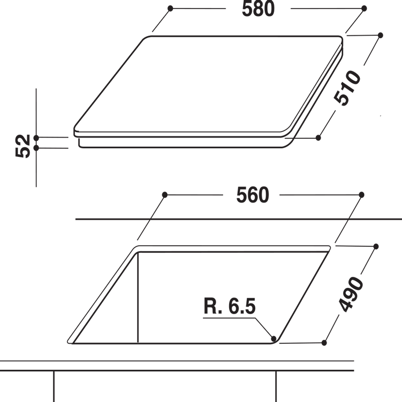 Hotpoint-HOB-CIA-640-C-Black-Induction-vitroceramic-Technical-drawing