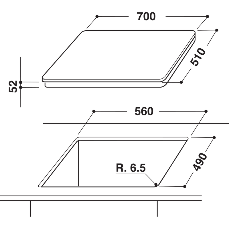 Hotpoint-HOB-CID-740-B-Black-Induction-vitroceramic-Technical-drawing