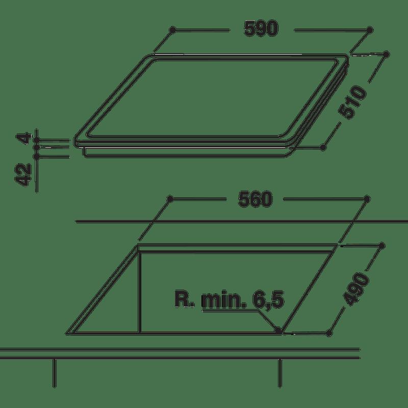 Hotpoint-HOB-HR-605-B-H-Black-Radiant-vitroceramic-Technical-drawing