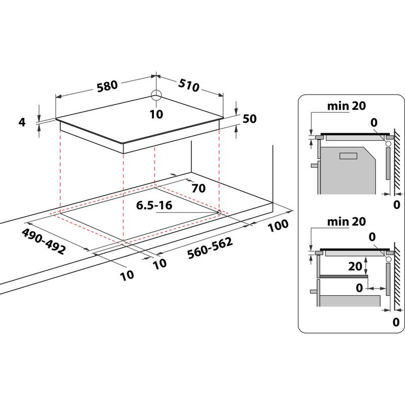 Hotpoint-HOB-HR-619-C-H-Black-Radiant-vitroceramic-Technical-drawing