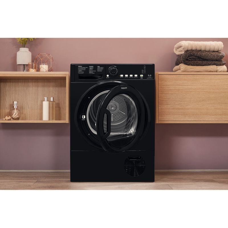 Hotpoint-Dryer-TCFS-835B-GK.9-UK-Black-Lifestyle-frontal-open