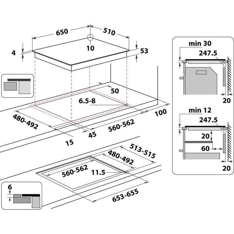 Hotpoint-HOB-ACO-654-NE-Black-Induction-vitroceramic-Technical-drawing