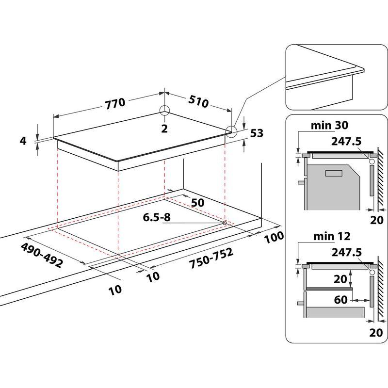 Hotpoint-HOB-ACP-778-C-BA-Black-Induction-vitroceramic-Technical-drawing