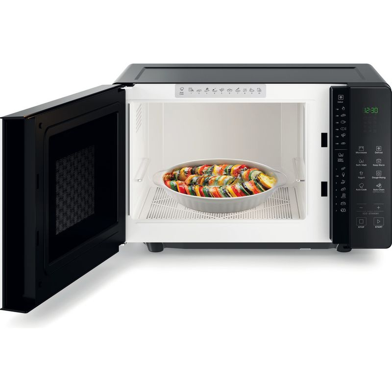 Hotpoint-Microwave-Free-standing-MWHF-201-B-Black-Electronic-20-MW-only-800-Frontal-open