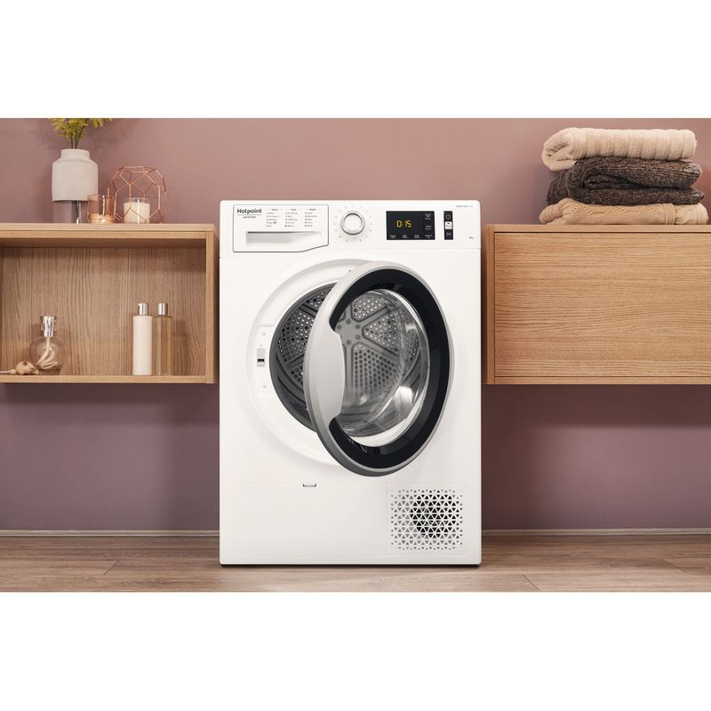 Hotpoint-Dryer-NT-M11-92SK-UK-White-Lifestyle-frontal-open