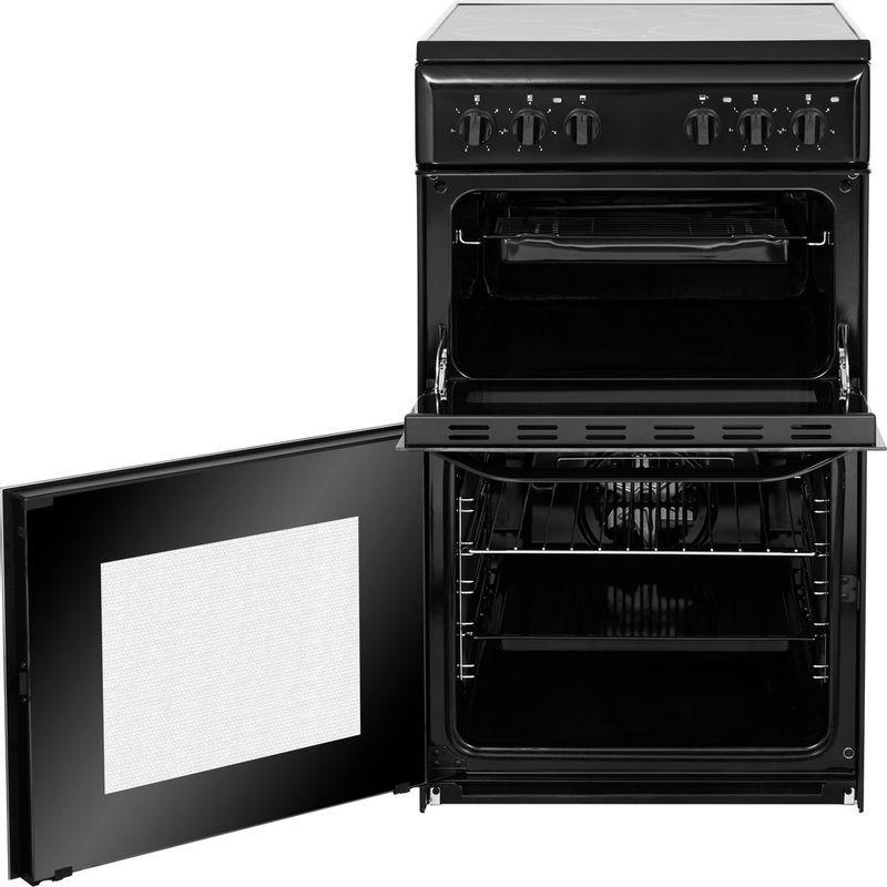 Hotpoint-Double-Cooker-HD5V92KCB-UK-Black-A-Vitroceramic-Frontal-open