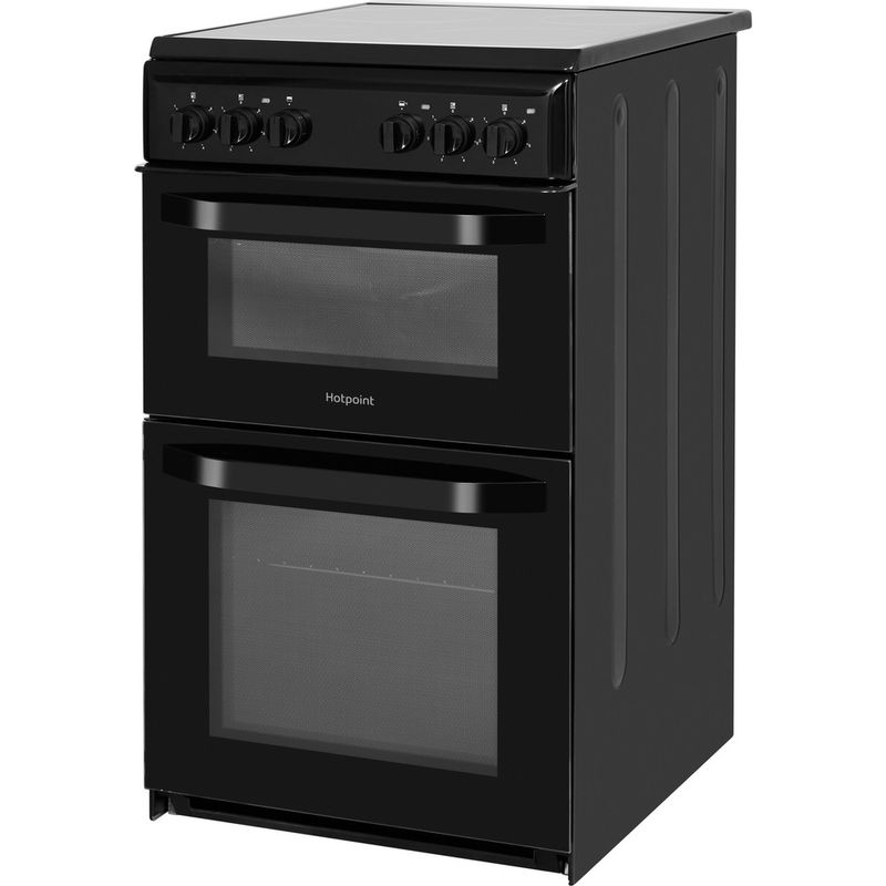 Hotpoint-Double-Cooker-HD5V92KCB-UK-Black-A-Vitroceramic-Perspective