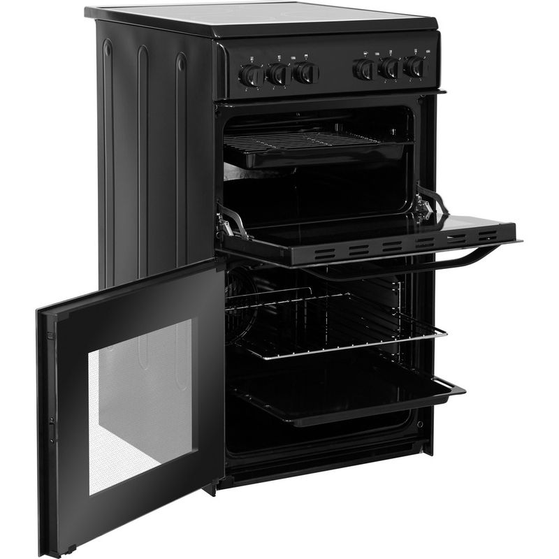 Hotpoint-Double-Cooker-HD5V92KCB-UK-Black-A-Vitroceramic-Perspective-open