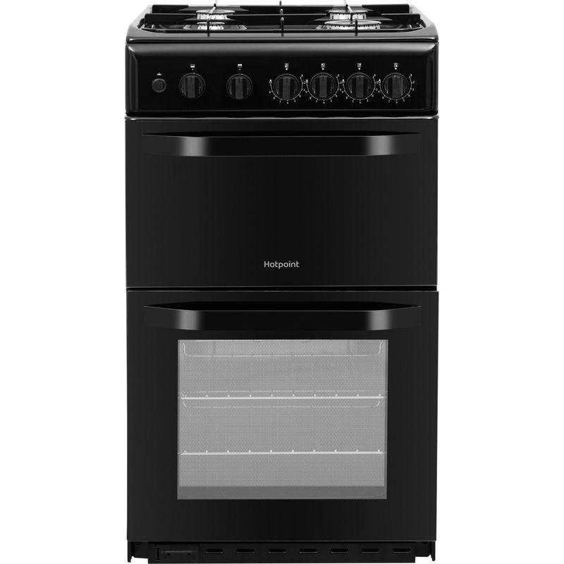 Hotpoint-Double-Cooker-HD5G00KCB-UK-Black-A--Enamelled-Sheetmetal-Frontal