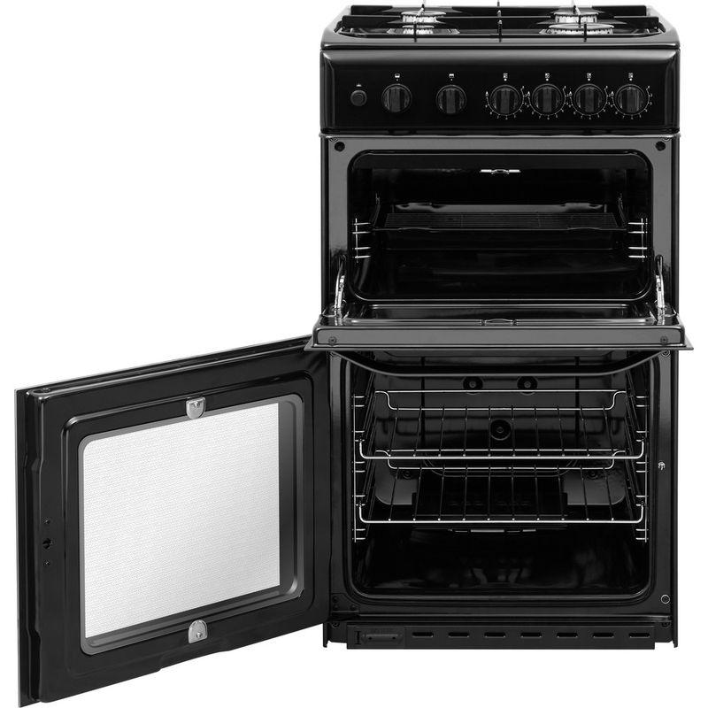 Hotpoint-Double-Cooker-HD5G00KCB-UK-Black-A--Enamelled-Sheetmetal-Frontal-open