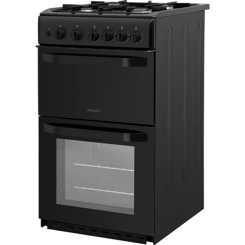 Hotpoint-Double-Cooker-HD5G00KCB-UK-Black-A--Enamelled-Sheetmetal-Perspective
