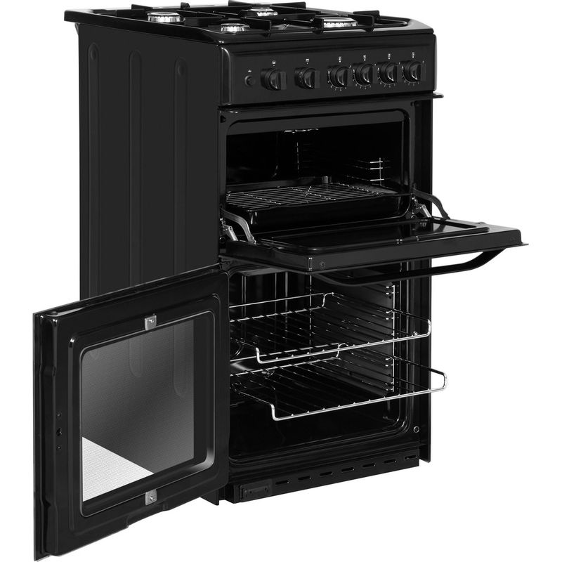 Hotpoint-Double-Cooker-HD5G00KCB-UK-Black-A--Enamelled-Sheetmetal-Perspective-open
