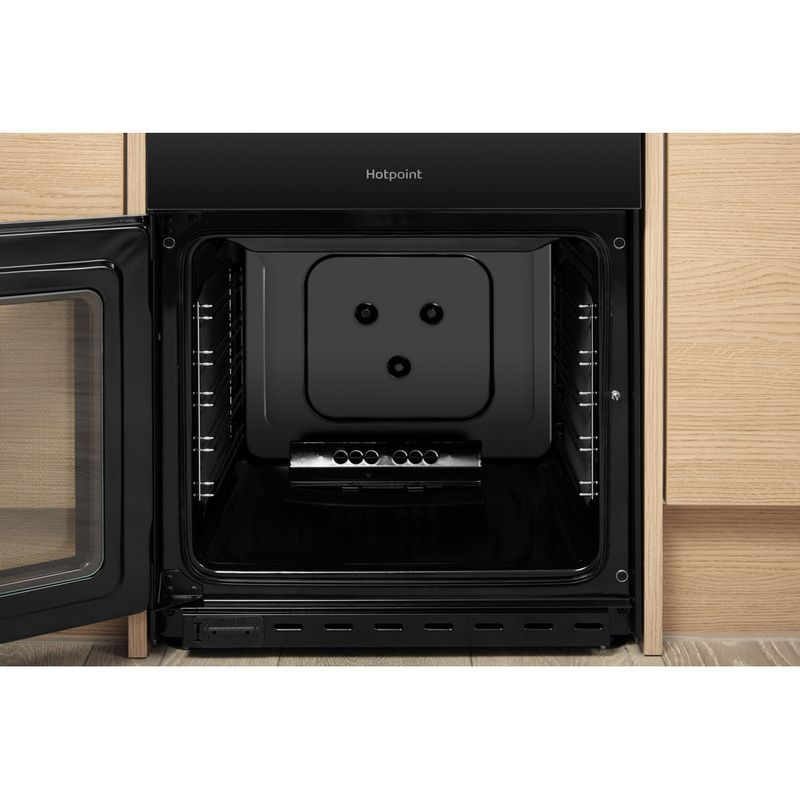 Hotpoint-Double-Cooker-HD5G00KCB-UK-Black-A--Enamelled-Sheetmetal-Lifestyle-frontal-open