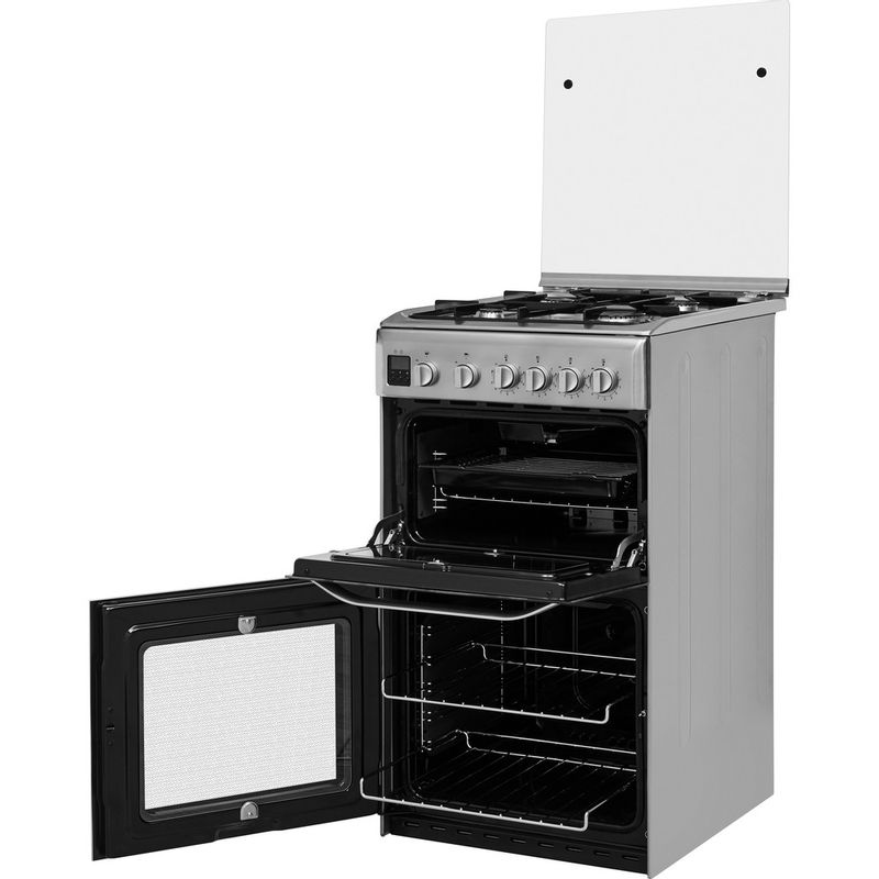 Hotpoint-Double-Cooker-HD5G00CCX-UK-Inox-A--Stainless-steel-Perspective-open