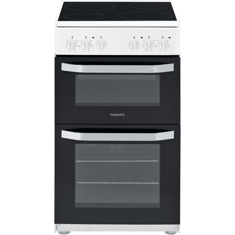 Hotpoint-Double-Cooker-HD5V92KCW-UK-White-A-Vitroceramic-Frontal