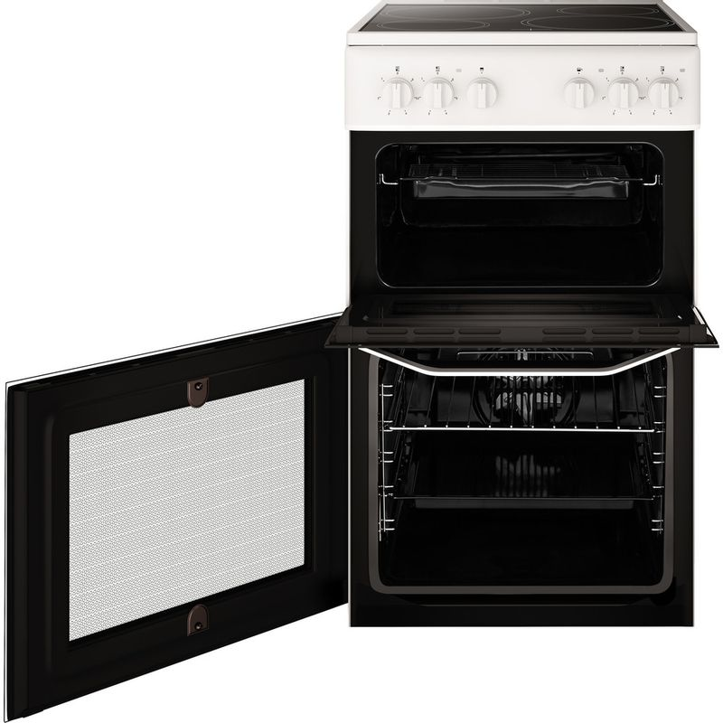 Hotpoint-Double-Cooker-HD5V92KCW-UK-White-A-Vitroceramic-Frontal-open