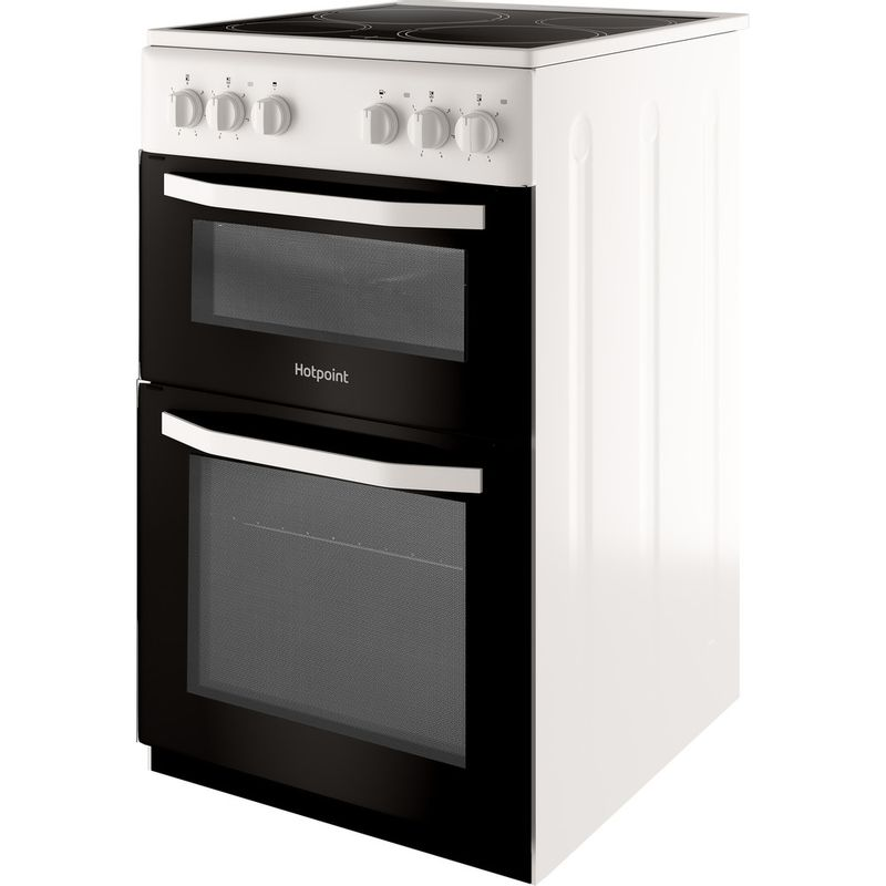 Hotpoint-Double-Cooker-HD5V92KCW-UK-White-A-Vitroceramic-Perspective