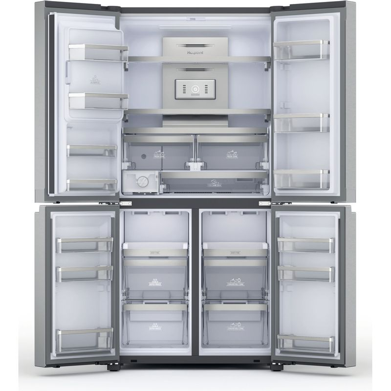 Hotpoint-Side-by-Side-Free-standing-HQ9I-MO1L-UK-Inox-Look-Frontal-open