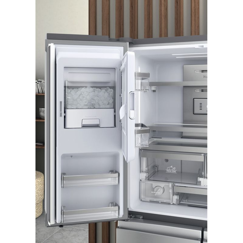Hotpoint-Side-by-Side-Free-standing-HQ9I-MO1L-UK-Inox-Look-Lifestyle-perspective-open